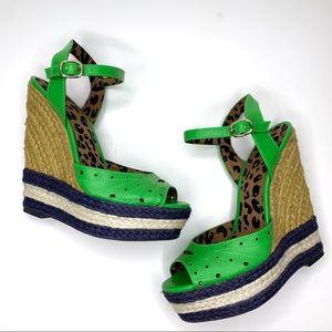 Jessica Simpson Green Espadrilles Platform Wedges